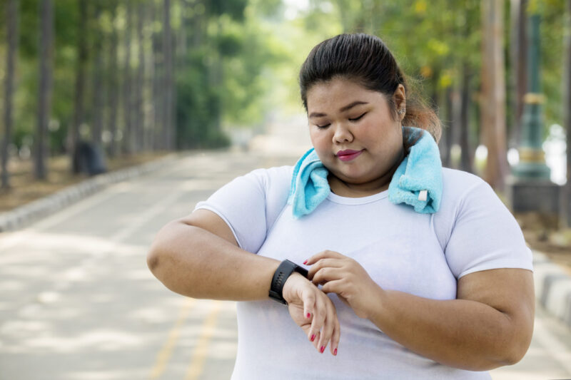 Woman about to exercise outside