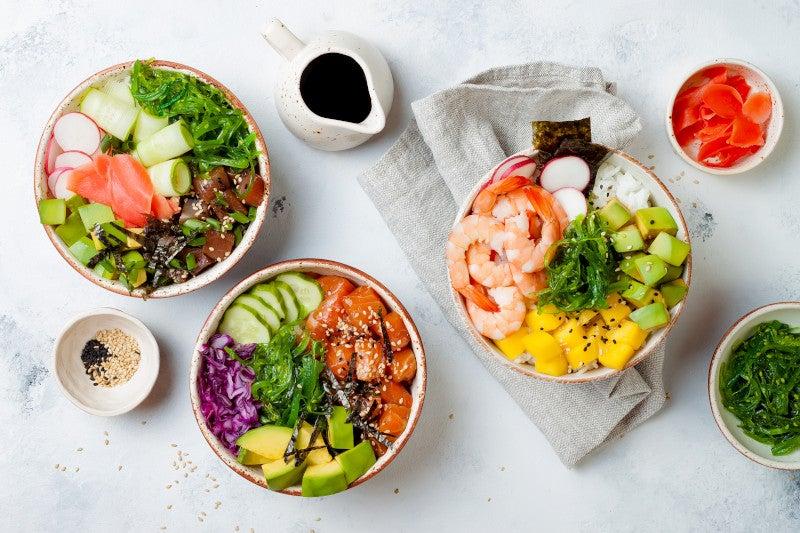 Salmon, tuna and shrimp bowls