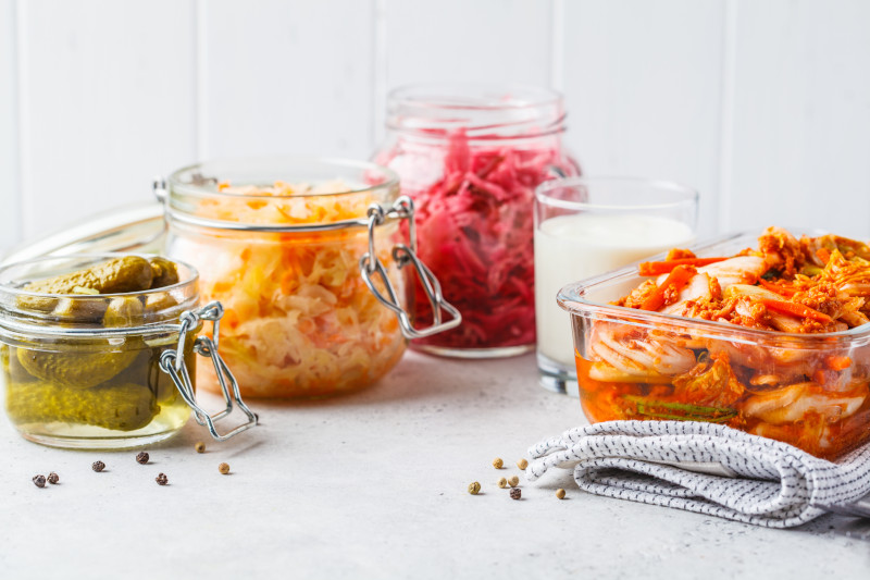 Probiotics food concept. Kimchi, beet sauerkraut