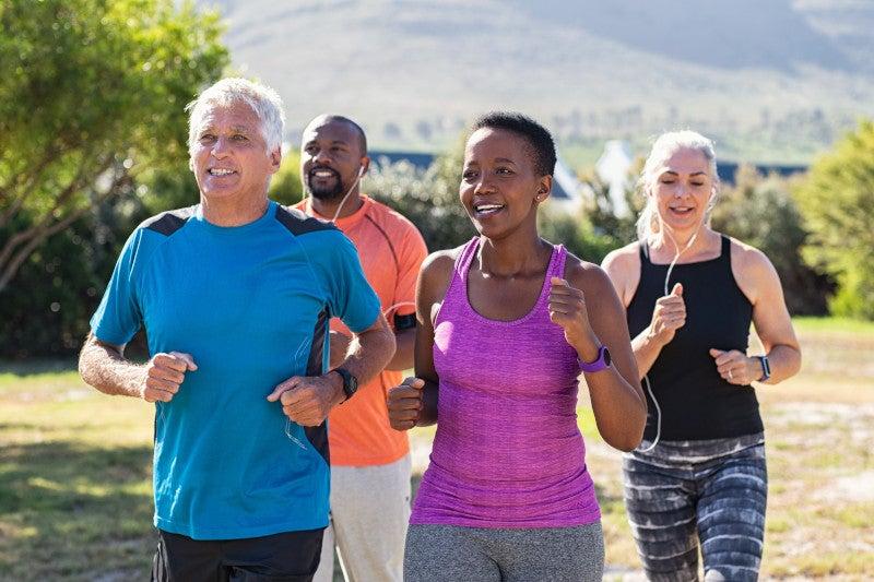 Older adults jogging outside