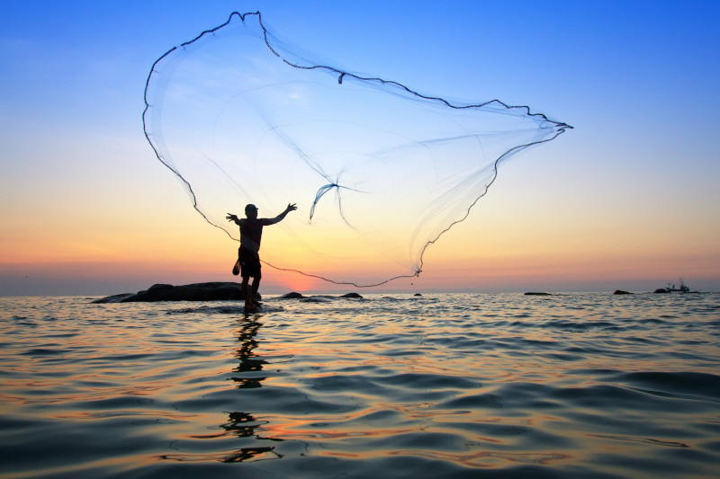 person throwing fishing net during sunrise,