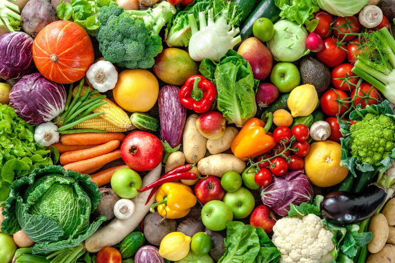 Colorful spread of fruits and vegetables