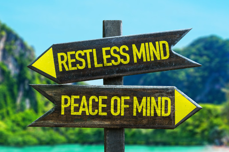 Restless mind peace of mind sign with wetland background