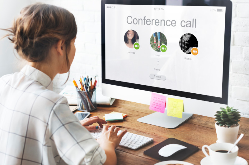 Woman in virtual conference call