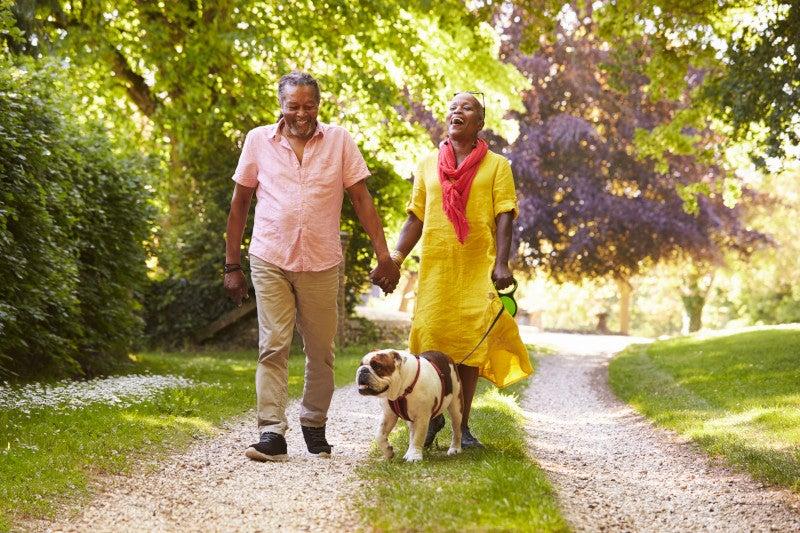 Senior couple peacefully walking with pet
