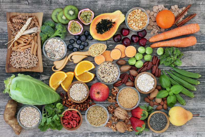 fruit, vegetables, whole wheat pasta, legumes, cereals, nuts and seeds