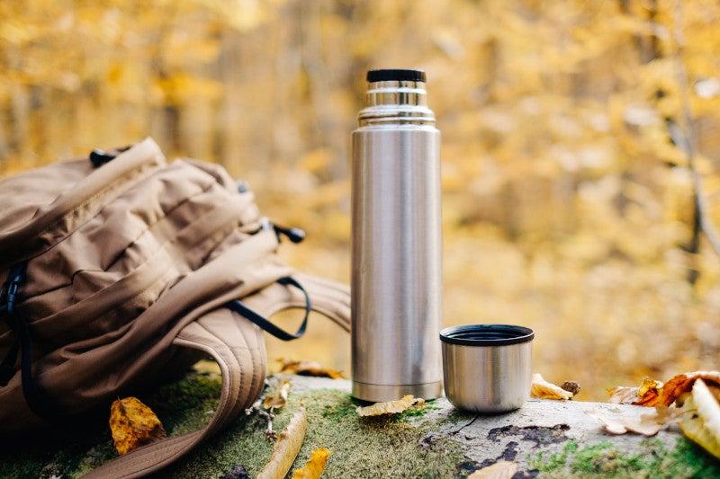 Steel water bottle in nature