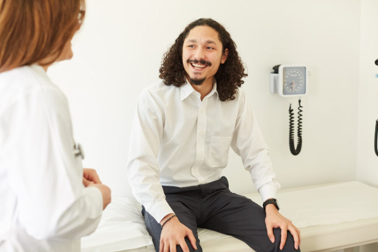 Smiling patient in an appointment